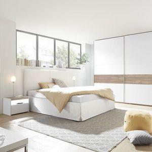 STRUCTURE DE LIT Chambre moderne blanche et couleur noyer NERINA li