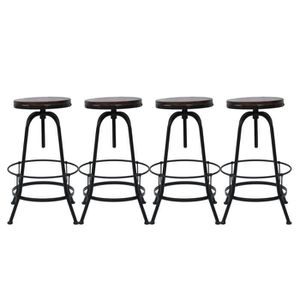 TABOURET DE BAR lot de 4 Tabouret de bar rond en métal industriel