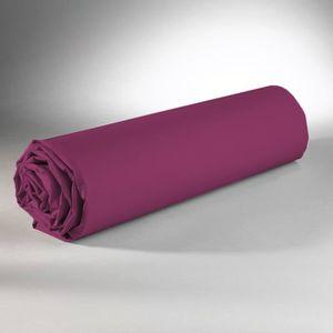 DRAP HOUSSE Drap Housse - 100% coton - Prune - 180 x 200 cm