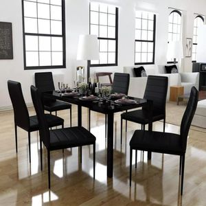 TABLE À MANGER COMPLÈTE Ensemble de table à manger sept pièces noir