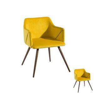 FAUTEUIL Duo de fauteuils velours Jaune - DONA - L 54 x l 5