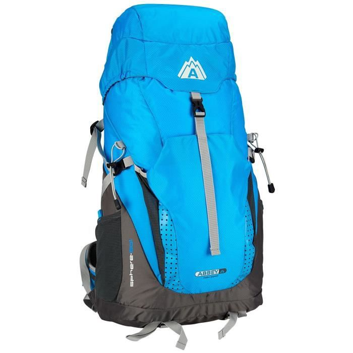 ABBEY Sac à dos de randonnée Aero-fit - 50 L - Système Airflow, avec protection pluie intégrée - Bleu