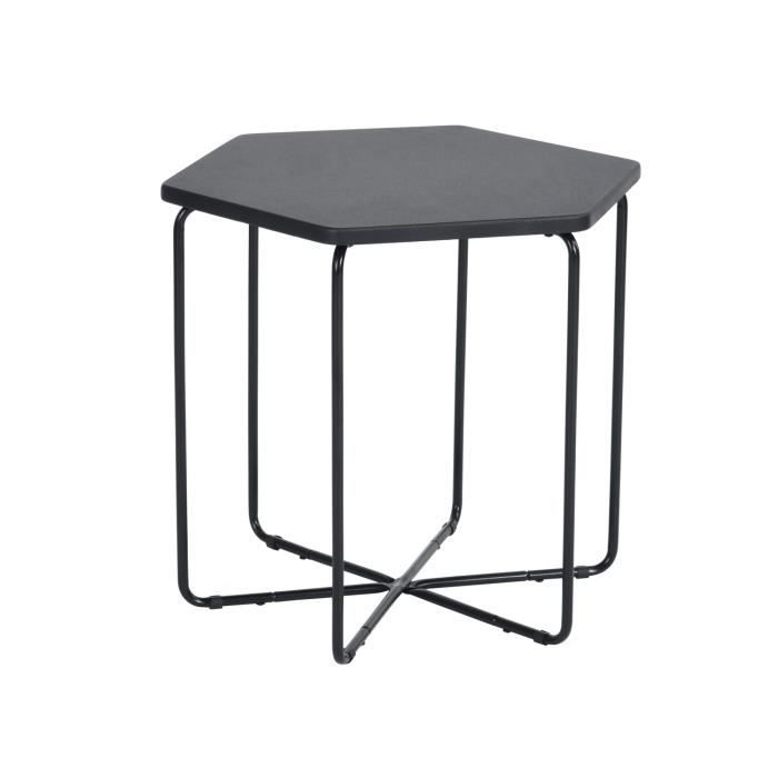 MEUBLES COSY Petite Table Basse Table d'appoint Fonte Octogonale Avec Haut Noir Jambe en Métal Noir 45.5*40*41.5cm