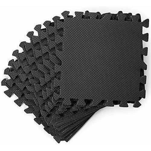 18 tapis de protection en mousse,Tapis de GYM,18 Dalles Carrées Tapis de sol,Tapis de jeu,Noir,30 x 30 x 1 cm