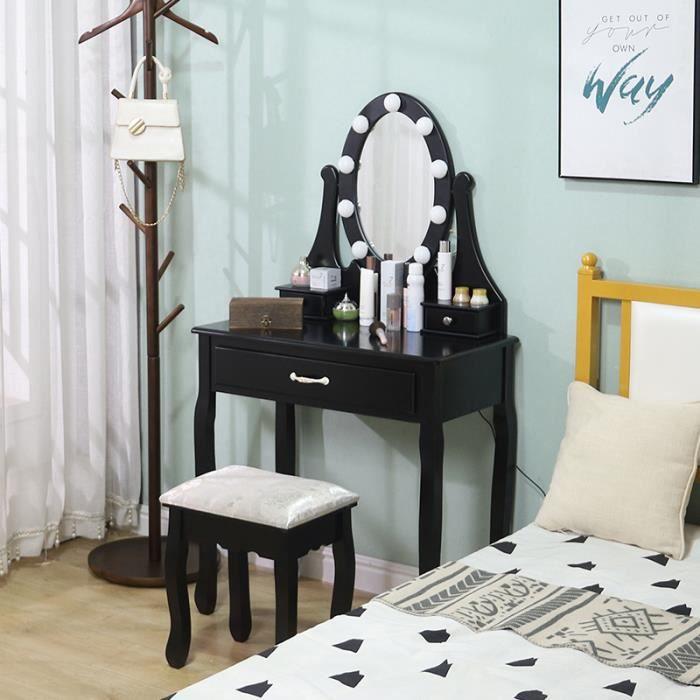 Coiffeuse Noir Miroir LED et Tabouret Design Contemporain Table de Maquillage 3 tiroirs Luminosité Réglable