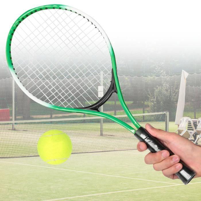 Raquette de tennis pour enfants en alliage de fer - Raquette d'entraînement pour débutants avec balle et sac de transport (vert)-TIP