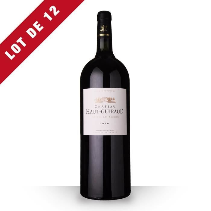 Lot de 12 - Magnum Château Haut-Guiraud 2016 AOC Côtes de Bourg - 12x150cl - Vin Rouge
