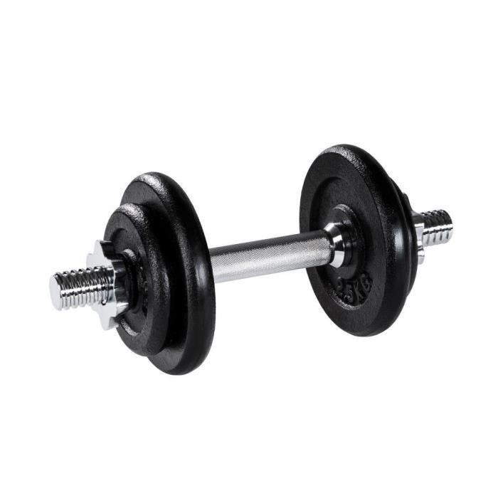1 haltère court et 4 poids de musculation en acier et fonte 10 kg 0708029