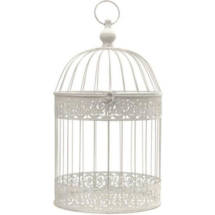 Cage Oiseaux Décorative Fer Ronde Blanc 47 cm x ø24 cm - 11236-Cage