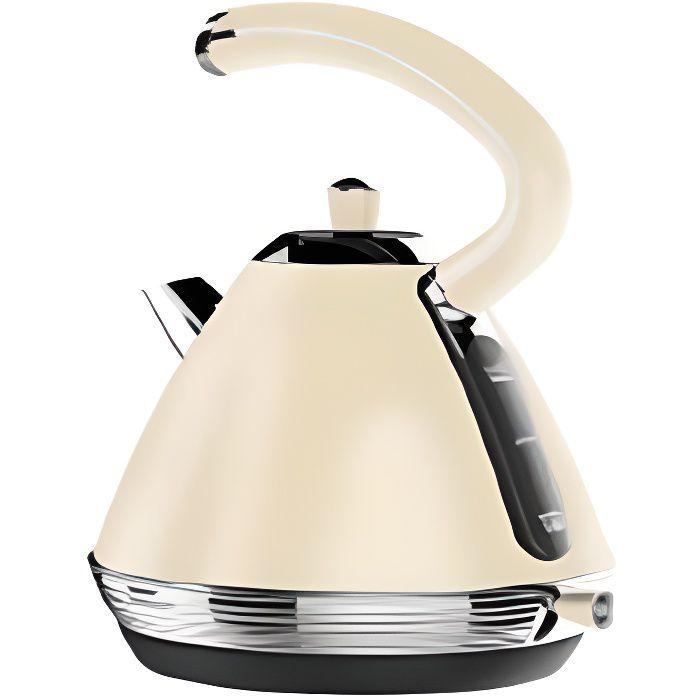Bouilloire électrique vintage-1,7L-Ébullition Rapide-Inox-Arrêt Automatique-Beige