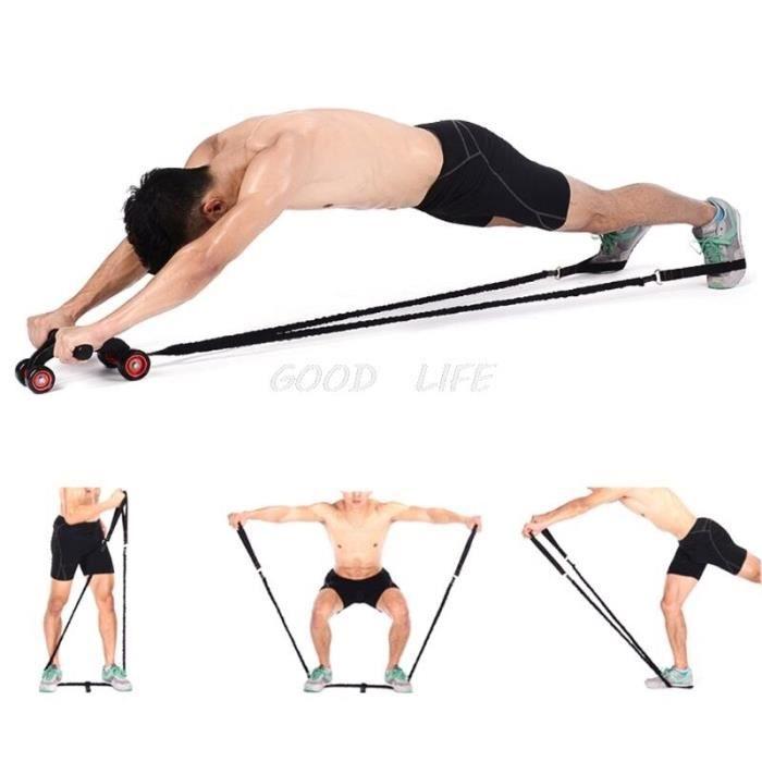 Roue musculaire abdominale corde de traction auxiliaire gymnastique Fitness Ab rouleau bandes de résistan - HSJSTLDB07074
