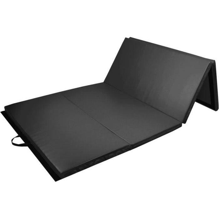 PRISP - Tapis de Sol 240cm pour Gymnastique et Fitness - Matelas de Gym Épais de Pliable pour la Maison - 240 x 120 x 5 cm - Noir