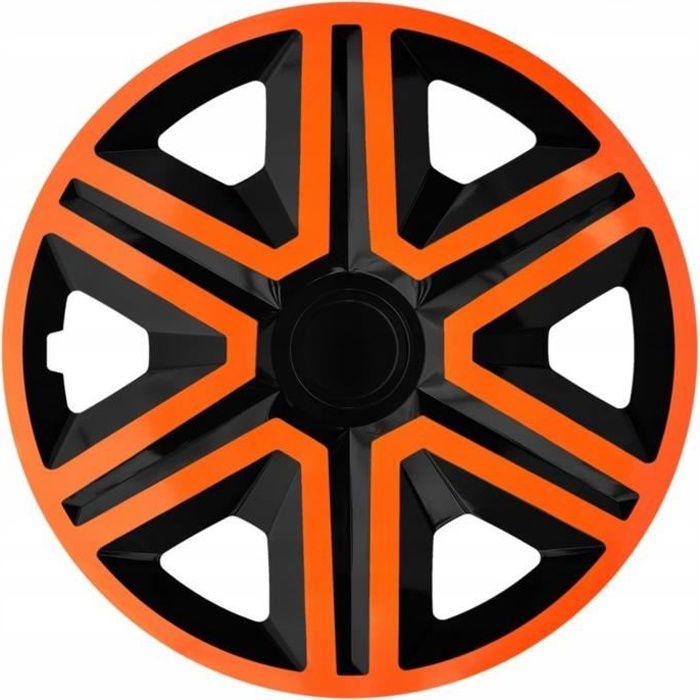 Enjoliveurs de roues ACTION noir-orange 14 - lot de 4 pièces