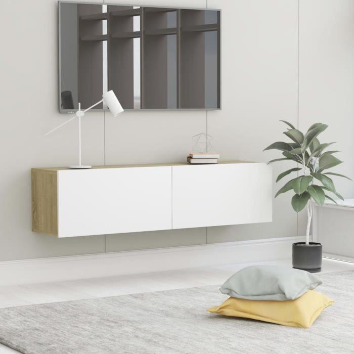 CHEZZOE Meuble TV Design - Meuble de rangement Meuble de Télévision Blanc et chêne sonoma 120x30x30 cm Aggloméré ☺47070