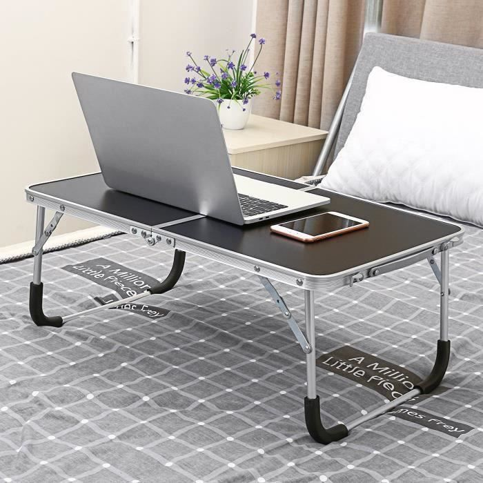 Table d'Ordinateur Portable Pliable en Alliage d'Aluminium Table d appoint Canapé-lit Bureau Wir48
