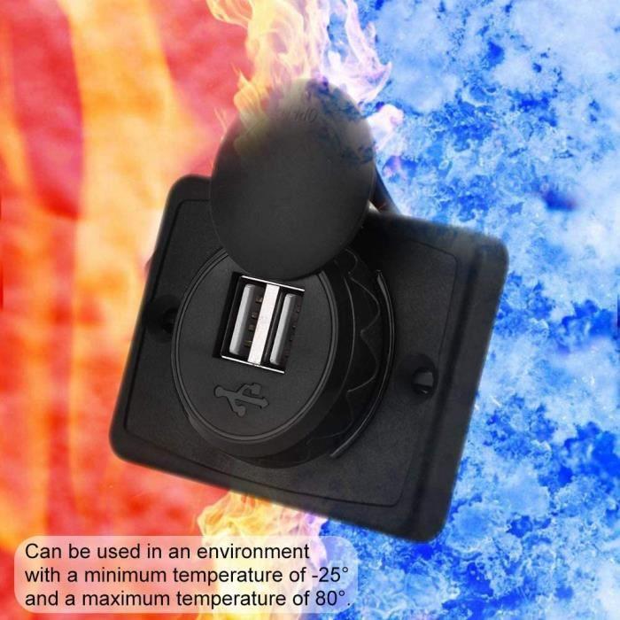 Chargeur de Voiture 3.1A Double Port USB Noir Prise de Courant 12V Prise Allume Cigare USB LED Etanche Convient aux Navires Y