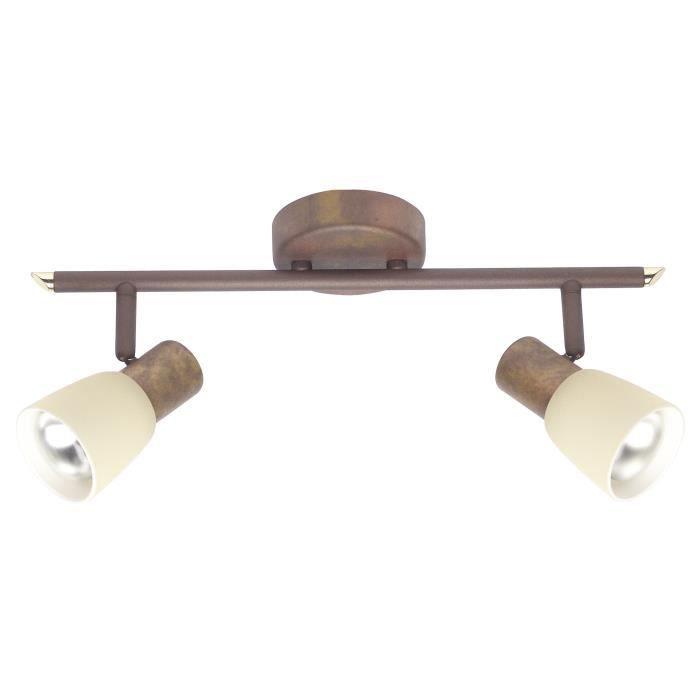 BRILLIANT Plafonnier barre à 2 lumières Luca hauteur 15 cm E14 40W cuivre vieilli et beige