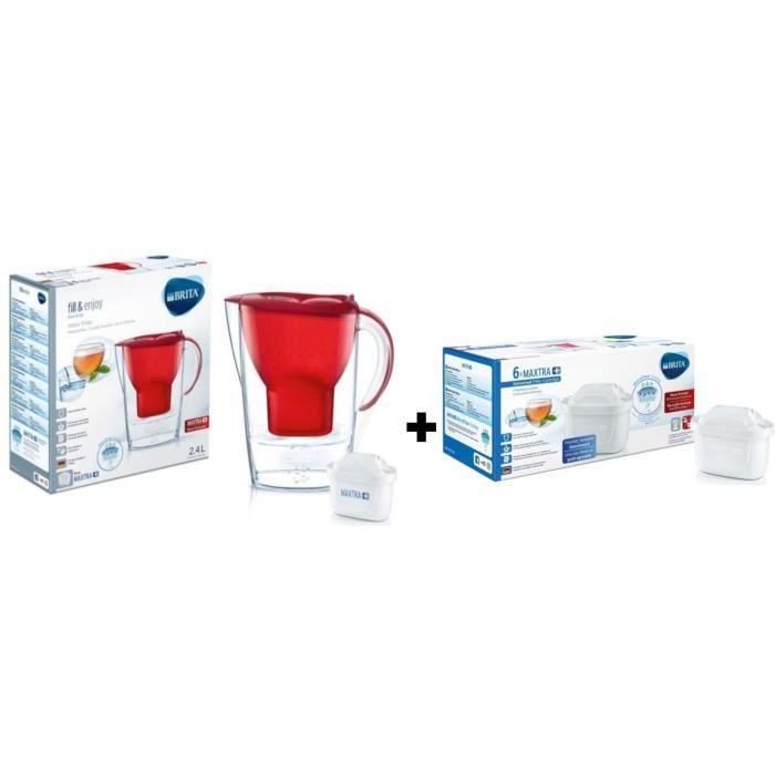 Pack BRITA Carafe filtrante MARELLA Rouge + 7 Cartouches de rechange Maxtra +