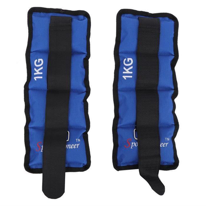 DUOKON 2 Pcs jambe cheville poignet sac de sable poids sangle force équipement de formation pour Gym Fitness Yoga course(1 KG )-ROS