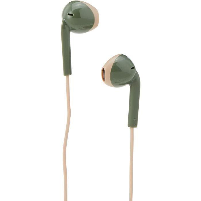 JVC HA-F19M-GC-E vert kaki crème Ecouteur Intra-auriculaire, microphone et télécommande, Anti-transpiration