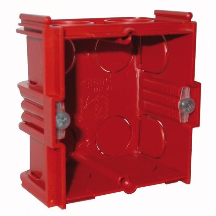 LEGRAND Boîte de maçonnerie Batibox carrée - 1 poste - 30 mm - rouge
