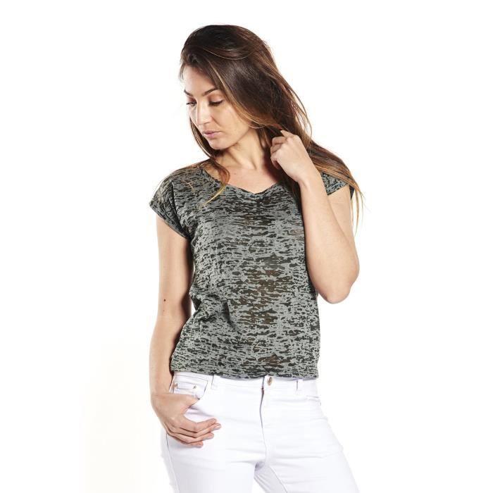 DEELUXE T-Shirt Percy Manches Courtes Kaki Femme