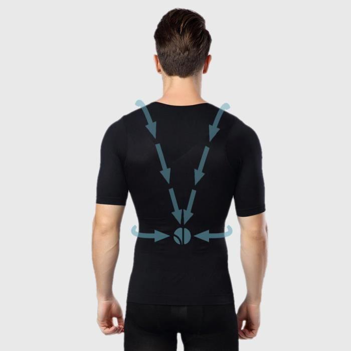 T-shirt Noir Homme Manches Courtes - Correcteur de Posture - Compression 360° - Anti-Mal de Dos - Maillot de Corps Sport Fitness