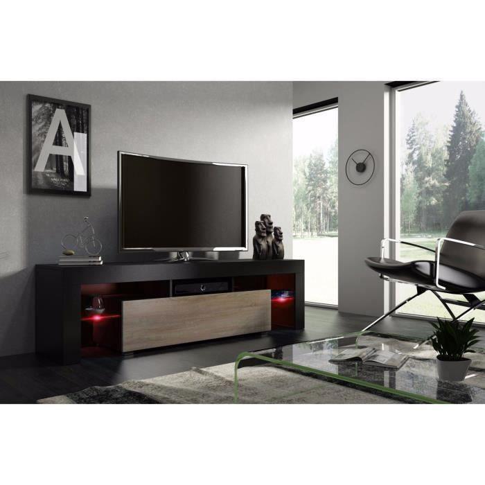 Meuble tv 160 cm noir mat et chêne avec led