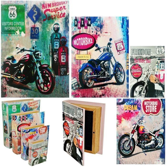 Set Ensemble Lot 4 Boites Box Rangement Gigogne Livre Rétro Déco Pub Vintage Moto Route 66