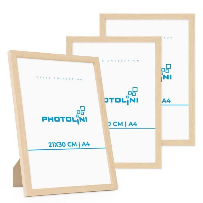 PHOTOLINI Lot de 3 cadres 21x30 cm A4 Moderne Naturel en MDF avec vitre en acrylique
