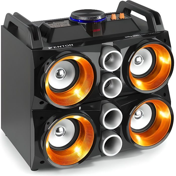 Fenton MDJ200 - Enceinte LED avec micro et batterie, 150 W, BT/USB/MP3/SD