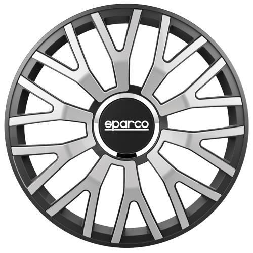 SPARCO Lot de 4 Enjoliveurs Leggera Pro 16'' - Gris argenté bord Noir