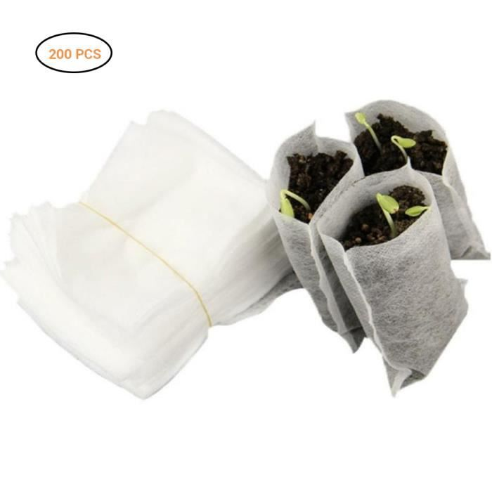 200pcs PACK Sacs de culture germination semis non tissés Sacs de nutrition de plantation de plantes 8 * 10cm