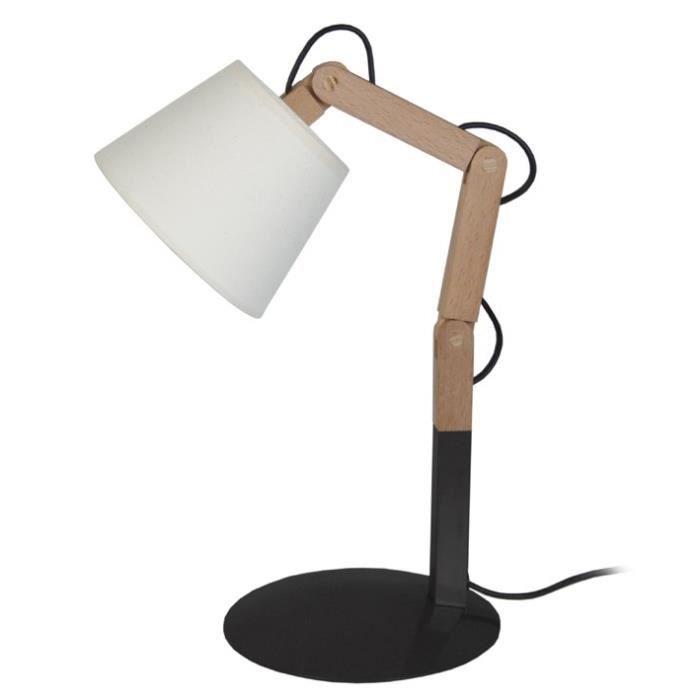 FREKI Lampe à poser en acier et Bois - Abat-jour Tambour Tissu - 16 x 30-45 x H30-45 cm - Bois Naturel et Noir - E27