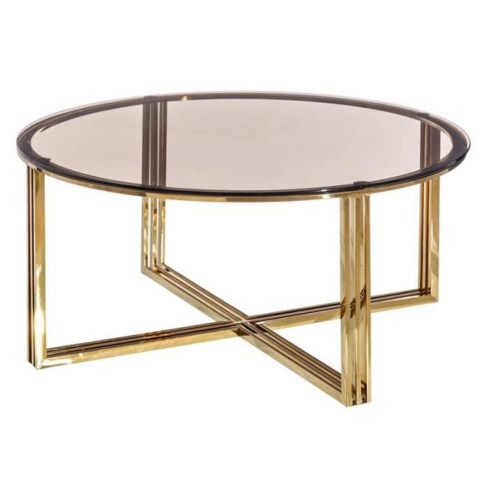 Table basse ronde Verre/Métal - TEBULO - L 90 x l 90 x H 43