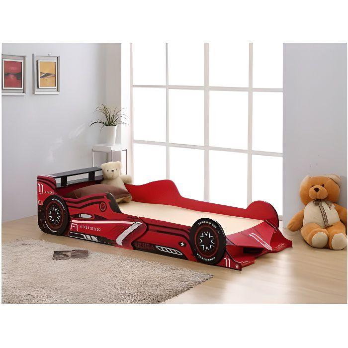 Lit voiture FORMULE 1 - 90x190cm - MDF rouge - ...
