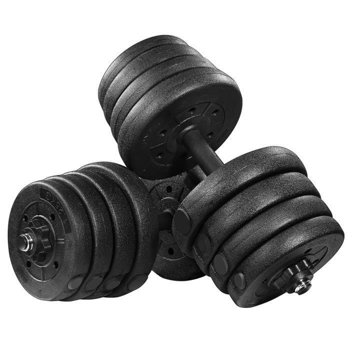 30kg Haltère Poids Kits Réglable Solide Fitness Haltère Sécurité et Antidérapant Gym Exercice Exercices Formation Outils