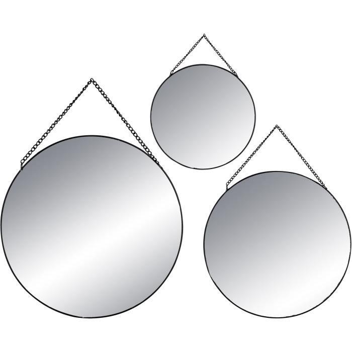 MIROIR Lot de 3 miroir rond en métal et verre - Diamètre