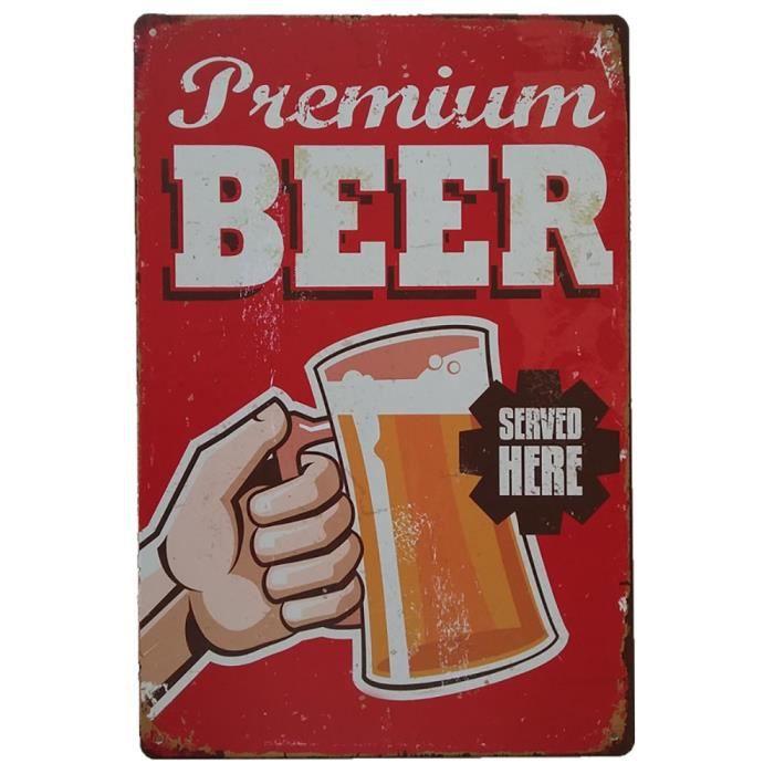Bière froide ici vintage tin Signes Plaque en métal Pub Bar Décor Art Mural Poster