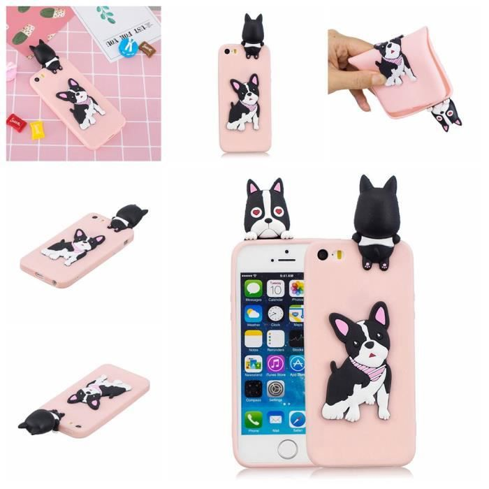 coque iphone 5s 5 se silicone chien modele anticho