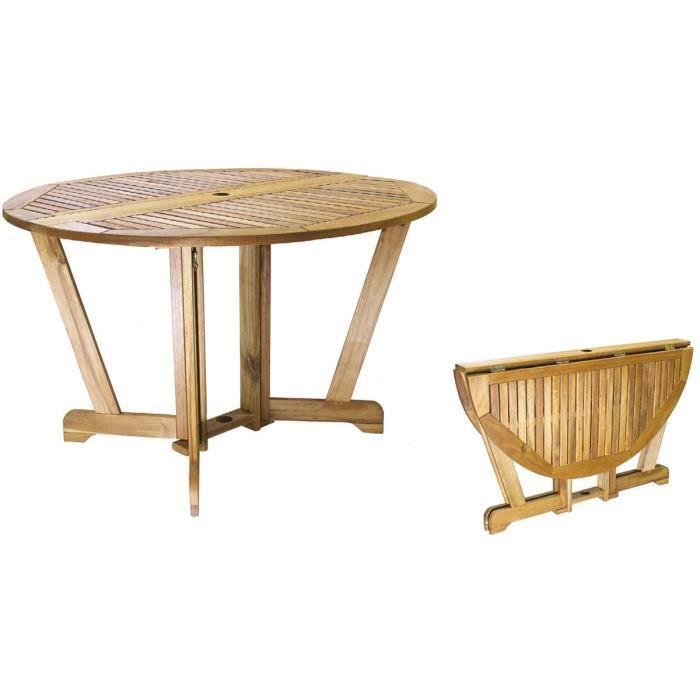 Table ronde jardin pliante en bois d\'acacia Taylor