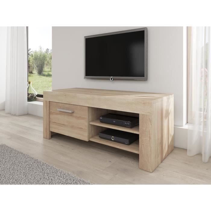 rome meuble tv contemporain d cor ch ne clair 120 cm achat vente meuble tv rome meuble tv. Black Bedroom Furniture Sets. Home Design Ideas