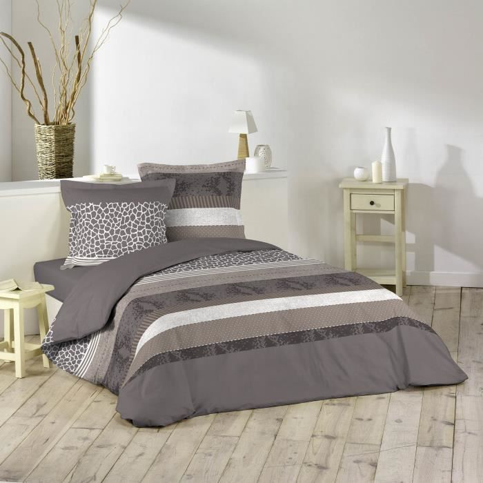 housse de couette 2 personnes marron taupe avec des. Black Bedroom Furniture Sets. Home Design Ideas