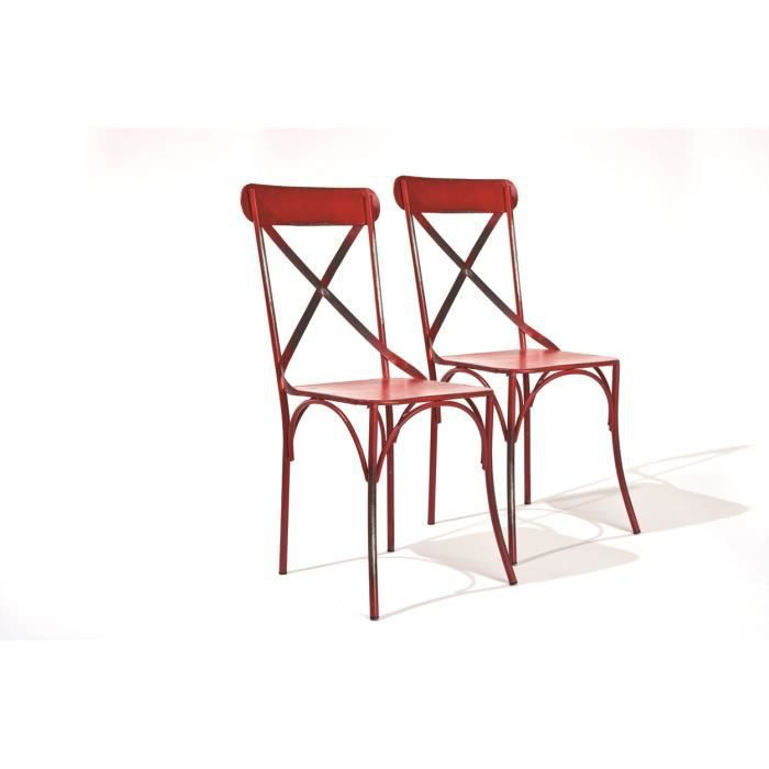 bistrot rouge lot 2 chaises bistrot achat vente. Black Bedroom Furniture Sets. Home Design Ideas