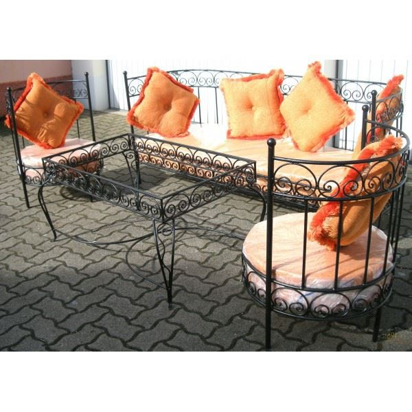 salon marocain complet orange en fer forg et v achat vente salon de jardin salon marocain. Black Bedroom Furniture Sets. Home Design Ideas