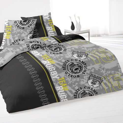 housse de couette et deux taies rugby jaune achat. Black Bedroom Furniture Sets. Home Design Ideas