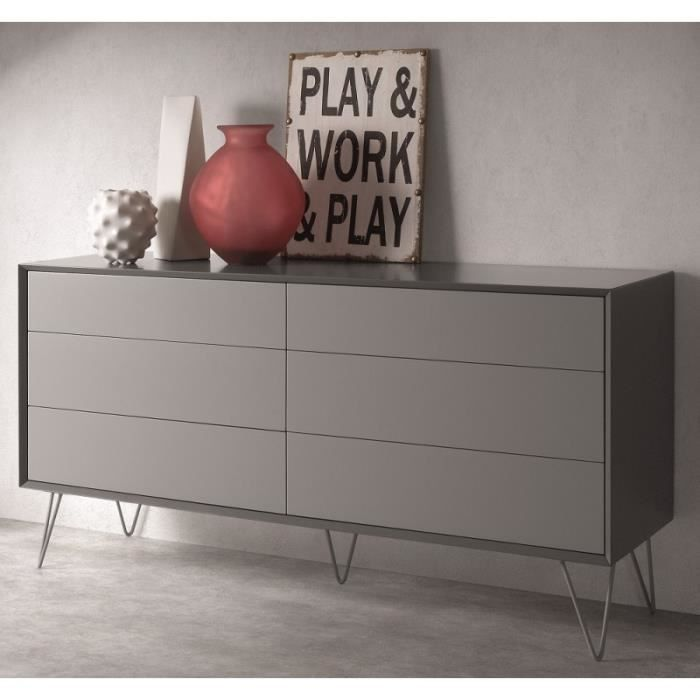 commode design 6 tiroirs alborg gris mat achat vente commode de chambre commode design 6. Black Bedroom Furniture Sets. Home Design Ideas
