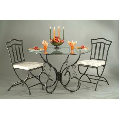 table verre et fer forg ronde arabesque achat vente table manger table verre et fer forg. Black Bedroom Furniture Sets. Home Design Ideas