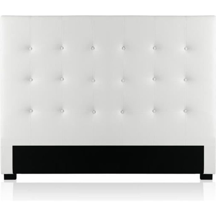 t te de lit capitonn e premium 140cm blanc achat vente. Black Bedroom Furniture Sets. Home Design Ideas
