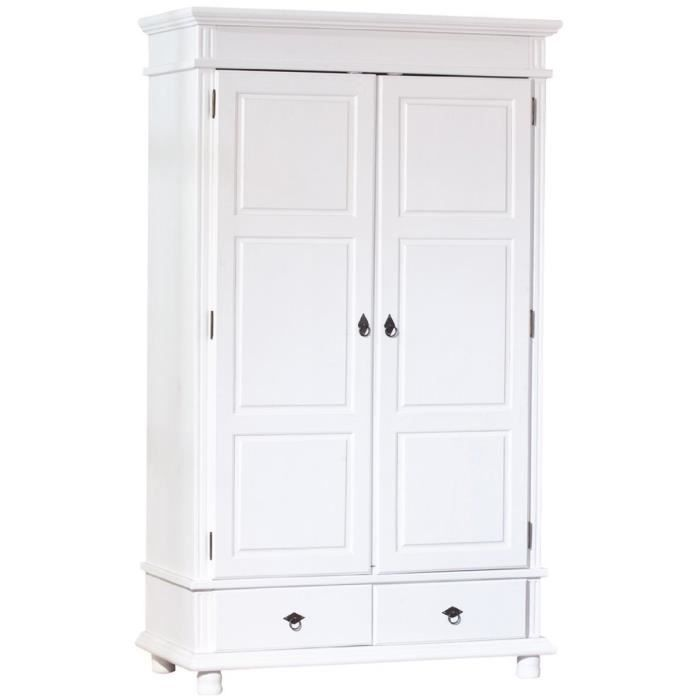armoire blanc en pin massif avec 2 portes dim achat. Black Bedroom Furniture Sets. Home Design Ideas